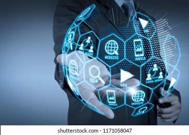 Digital marketing media (website ad, email, social network, SEO, video, mobile app) in virtual globe shape diagram. business man with an open hand as showing something concept