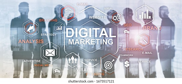 Digital Marketing. Mixed Media Business Background.