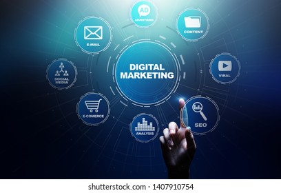 Digital marketing, Online advertising, SEO, SEM, SMM. Business and internet concept.