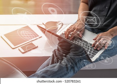 Digital marketing SEO search engine optimization via omnichannel communication network icon on computer software application development and online mobile smart device app technology for all business
