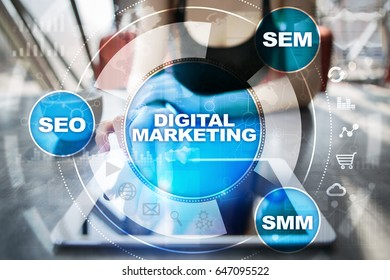 DIgital marketing technology concept.. Internet. Online. Search Engine Optimisation. SEO. SMM. Advertising.