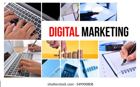 DIGITAL MARKETING text with collage images