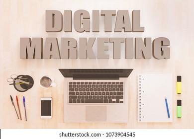 Digital Marketing - text concept with notebook computer, smartphone, notebook and pens on wooden desktop. 3D render illustration.