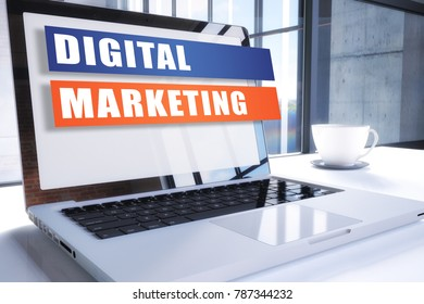 Digital Marketing text on modern laptop screen in office environment. 3D render illustration business text concept.