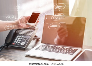 Digital marketing via multi-channel communication network icon on mobile smartphone application technology and VOIP voice over internet protocol telephone service concept