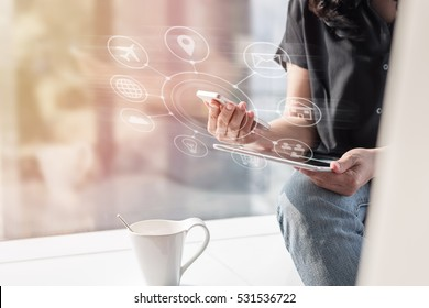 Digital marketing via multi-channel communication network icon on mobile smart device application technology for e-commerce and fintech business lifestyle