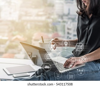 Digital marketing via multichannel communication network icon on mobile smartphone application technology for woman working easy at work or from home on e-commerce online marketplace