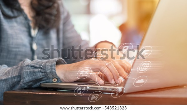 Digital marketing via multi-channel communication network icon on internet application technology