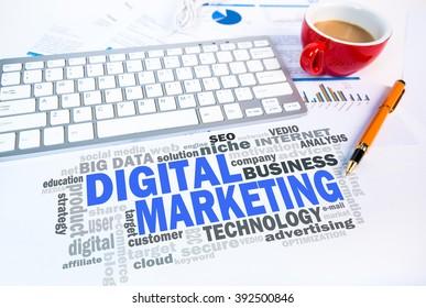 digital marketing word cloud on office scene