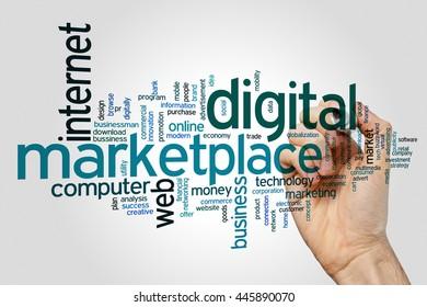 Digital marketplace concept word cloud background