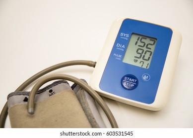 Digital Measuring blood pressure , Measuring heart rate show Hypertension or High Blood Pressure. white background.