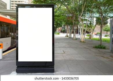 Digital Media blank advertising billboard in the bus stop, blank billboards public commercial with passengers, signboard for product advertisement design