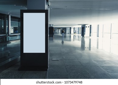 Digital media blank black and white screen modern panel, signboard for advertisement design in a shopping center, gallery. Mockup, mock-up, mock up digital kiosk.