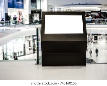 Digital media blank black and white screen modern panel, signboard for advertisement design in a shopping center, gallery. Mockup, mock-up, mock up with blurred background, digital kiosk.