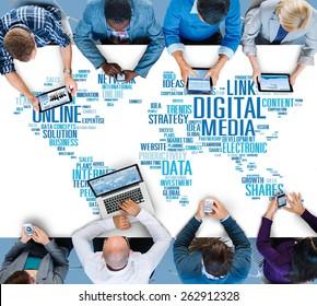 Digital Media Online Social Networking Communication Concept