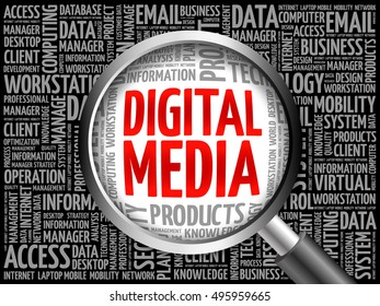 Digital Media word cloud with magnifying glass, business concept 3D illustration