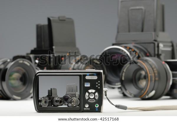 digital and  medium format camera