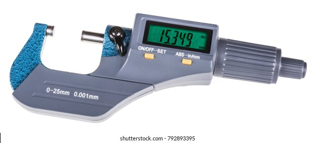 Digital micrometer for precise gauging. The measuring tool with green display isolated on white background.