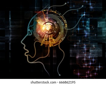 Digital Mind series. Backdrop of silhouette of human face and technology symbols on the subject of computer science, artificial intelligence and communications