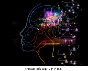 Digital Mind series. Background design of silhouette of human face and technology symbols on the subject of computer science, artificial intelligence and communications