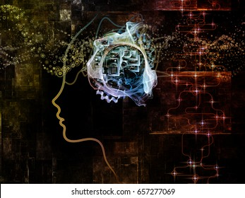 Digital Mind series. Composition of human face silhouette and technology symbols on the subject of computer science, artificial intelligence and communications