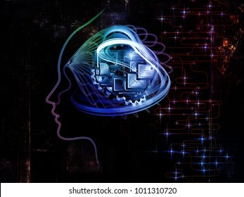 Digital Mind series. Graphic composition of silhouette of human face and technology symbols  for subject of computer science, artificial intelligence and communications