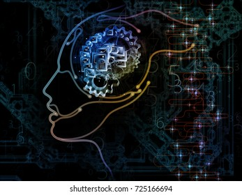 Digital Mind series. Interplay of silhouette of human face and technology symbols on the subject of computer science, artificial intelligence and communications