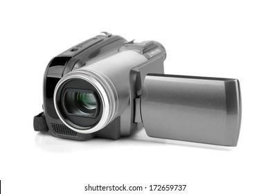 Digital MiniDV camcorder isolated on white