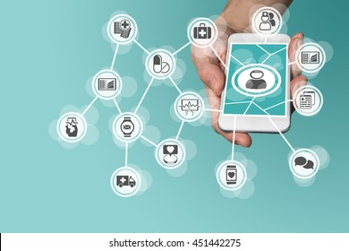 Digital and mobile healthcare concept with hand holding smart phone