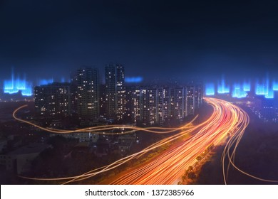 digital modern city with high speed fiber network coverage, abstract futuristic concept of big data technology