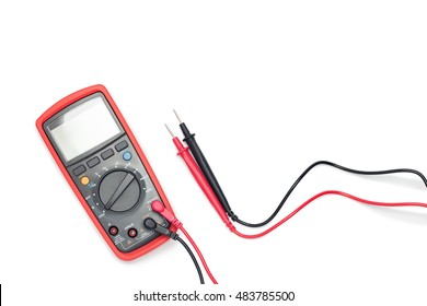 Digital multimeter on white background with shadow