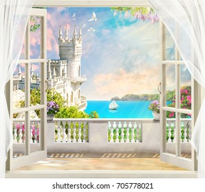 Digital mural. Beautiful view of the castle. Swallow's nest