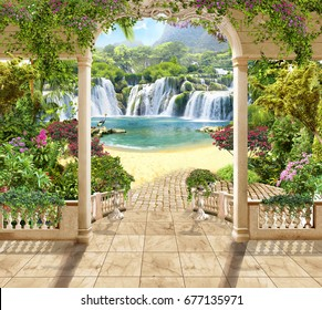 Digital mural. Lovely terrace with views of the waterfall and the sea. Flowers , arches.