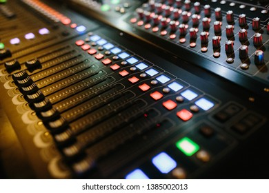 Digital music mixer, professional sound and audio mixer control panel with buttons and sliders