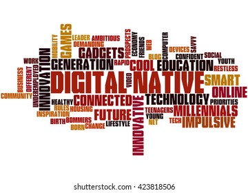 Digital Native, word cloud concept on white background.