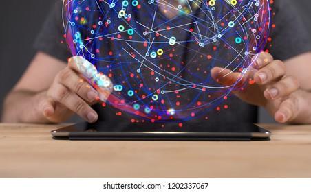 Digital Network in hand