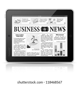 Digital News Concept with Business Newspaper on screen Tablet PC