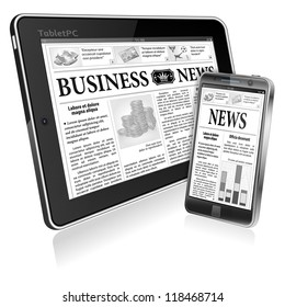 Digital News Concept with Business Newspaper on screen Tablet PC and Smartphone