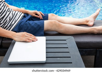 Digital Nomad people relaxing on summer vacation - work anywhere and passive income concept
