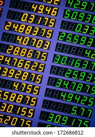 Digital number of foreign currency exchange rate display able to use as background
