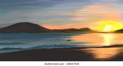Digital oil painting, beautiful sunset