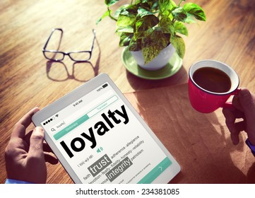 Digital Online Dictionary Meaning Loyalty Concept