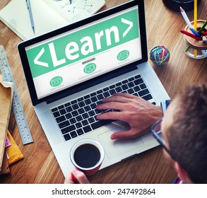 Digital Online Learn Technology Network Working Concept