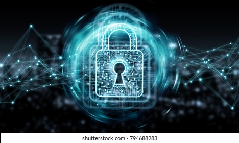 Digital padlock securing datas with connections on blue city background 3D rendering