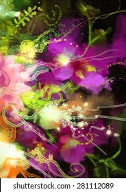 digital painting of abstract orchid flowers,illustration