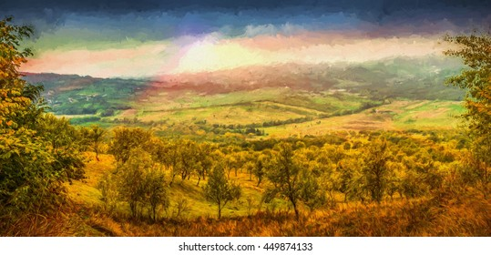Digital painting. Agricultural fields and orchards of apple and plum. Valea Plopului village area, Prahova county, Romania. Can be used for wallpaper, canvas print, decoration, banner, advertising.