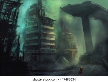 Digital painting of an apocalyptic cityscape with a little girl and her Teddybear looking at the destroyed buildings