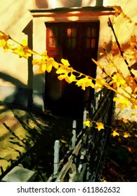 Digital painting of blossoms over entrance to an old house