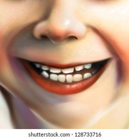 digital painting of a close up view of a little girl's smile
