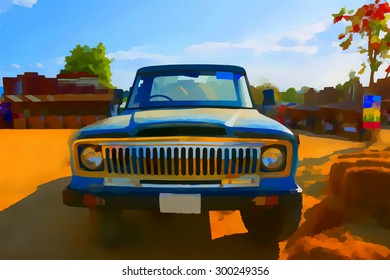 Digital painting colorful style pickup in farm.